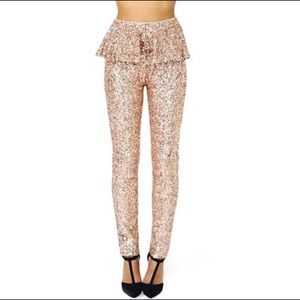 Rose Gold Sequin Peplum Pants